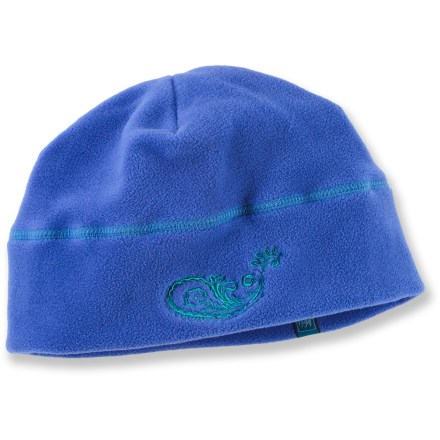 Entertainment This REI fleece beanie brims with outdoor style. It will help keep girls' noggins nice and warm while their walk to school or while playing in the snow. Soft, non-pilling polyester fleece retains warmth, continuing to insulate even if wet. - $5.83