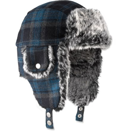 Entertainment The boys' REI Plaid Aviator hat will keep young noggins warm when the cold wind blows. Polyester/wool/viscose blend exterior and microfleece lining offer reliable warmth, even when wet. Earflaps attach under the chin with a quick-release buckle. - $14.93