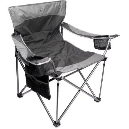 Camp and Hike Sturdy, comfortable and stocked with 2 drink holders and a side stash pocket, this chair features X-Web technology to evenly distribute your weight and make the most of your lounge time. - $59.50