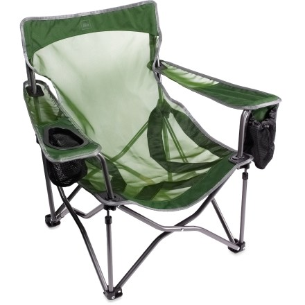 Camp and Hike The REI Camp X Low chair features exclusive X-Web technology for supreme comfort that you can take to the campground, summer concert and backyard barbecue. X-Web technology uses X-shape webbing to tension the seat and back panel, and distribute your weight for excellent sitting comfort. Mono-mesh and polyester seating surface stands up to regular use and exposure to weather; mesh fabric drains water and dries quickly. Frame is constructed of heavy-duty, thick-walled steel tubing for enduring strength; powder coating keeps the frame looking nice for years of use. With a back height of 26.75 in. and a seat height of just 7 in., chair is great for use at outdoor concerts; chair restrictions vary, so check with the concert venue. Versatile integrated cup holder on the right armrest accommodates a wide variety of container shapes and sizes, from mugs to plastic bottles to long-neck glass bottles. Drop-down pocket on the left armrest holds your cell phone and other small valuables; cinch the pocket closed with the string and cordlock to keep items from falling out. Chair has a weight capacity of 250 lbs. The REI Camp X Low chair packs up into the included stuff sack for easy storage and transport. - $29.93