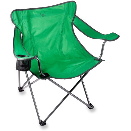 Camp and Hike This compact chair comes stocked with a cup holder, sturdy seat and strong frame, and it folds up neatly for easy transport to the campground, tailgate party or backyard barbecue. - $27.50
