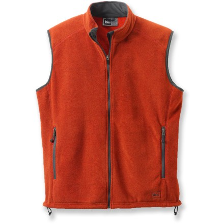 The REI Polartec(R) Thermal Pro(R) Fleece vest keeps your core warm, and is great layered under a shell or worn over your favorite shirt. - $36.73