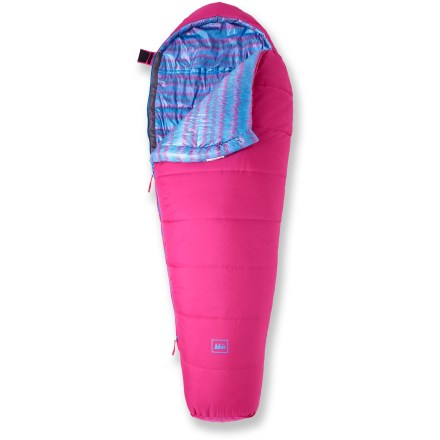 Camp and Hike Built to keep your young camper warm even in freezing temps (down to 30degF), the kid-friendly REI Kindercone sleeping bag lets you adjust the length as your child grows. - $59.95