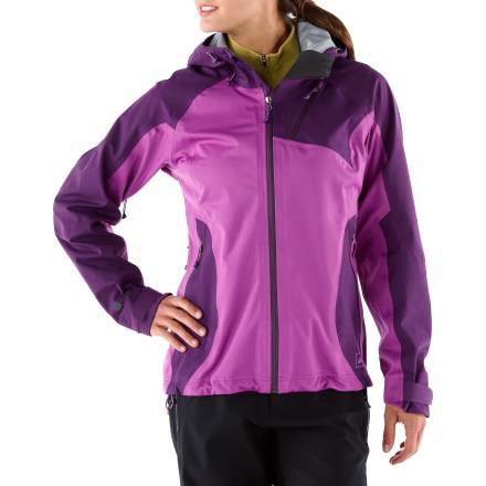 Climbing The women's REI Rangeclimber eVent(R) jacket provides waterproof, highly breathable protection together with performance-enhancing stretch-perfect for active outdoor adventures. Great for aerobic activities in cold conditions when you may encounter windy, wet weather; think alpine touring, climbing, snowshoeing and spring skiing; windproof to 60 mph. eVent fabric has a unique membrane structure that allows sweat vapor to escape to the outside of the fabric in 1 easy step. No matter how hard you work, overheating is highly unlikely due to this Direct Venting(TM) technology. And, because you remain dry on the inside, the likelihood of an uncomfortable, post-exercise chill is eliminated. Strategically placed 2-way stretch panels ease body motion. Brimmed hood's side and back volume adjustments tailor the fit for coverage that keeps your head dry, yet allows good peripheral vision. Storm guard behind water-resistant front zipper seals out cold wind; chin guard protects sensitive skin. Underarm pit zippers with 2-way zippers allow on-demand and versatile core venting. Zip hand and chest pockets feature water-resistant zippers; chest pocket includes a convenient earphone cord port. Features adjustable hem drawcord and rip-and-stick cuff tabs; angled sleeves extend coverage over top of hands. REI Rangeclimber jacket has an active fit that allows a full range of motion and enhances performance. - $229.00