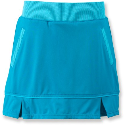 The girls' REI Whirligig skort looks like a skirt but has the freedom of movement and coverage of shorts. Made of a quick-drying, moisture-wicking, stretchy nylon/spandex fabric; skirt conceals shorts underneath. Fabric provides UPF 50+ sun protection, shielding skin from harmful ultraviolet rays. Front and back pleats add fun style. - $16.83