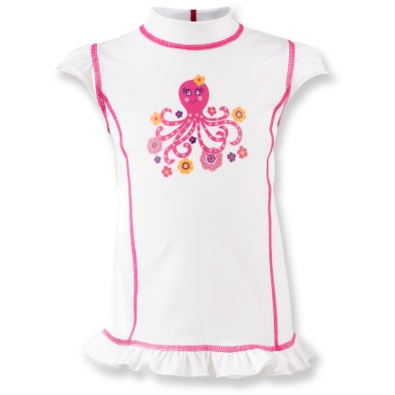 Surf The REI Shoreplay rashguard for little girls combines adorable style details with reliable comfort and sun protection for a day of summer play. Quick-drying, nylon/spandex fabric blend ensures 4-way stretch for a comfortable, snug fit. Fabric is treated to offer excellent protection from the sun: Ultraviolet Protection Factor (UPF) of 50+. Style details include cute lettuce hem and shoulder caps, contrast stitching and fun graphic. - $17.93