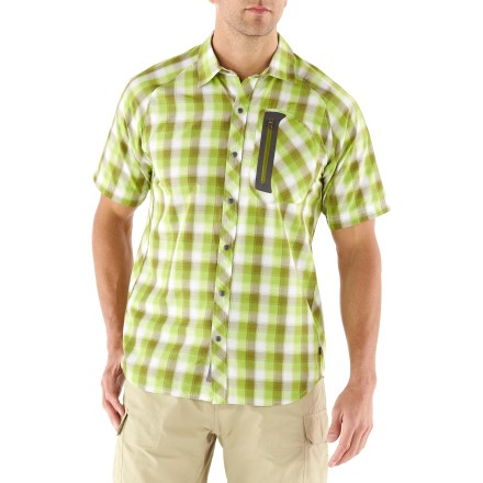 Camp and Hike Look good while living the outdoor lifestyle with the REI Igneo Plaid shirt. Its blend of cotton and polyester dries quickly and provides UPF 50+ protection against the sun's harmful solar rays. Ingeo Plaid shirt has snaps down the front and a welded-on chest pocket with a zipper to secure your trail and travel items. Raglan sleeves ensure comfort and easy motion. Hang the shirt up to dry with the exterior locker loop. The REI Igneo Plaid shirt has a classic fit that's cut just right for easy wearing. - $34.93