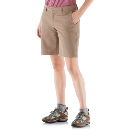 Camp and Hike The REI Rendezvous shorts provide versatile coverage through your day on the trail, and plenty of pockets for carrying all those little necessities. Lightweight yet durable nylon fabric dries fast and won't pill or snag; spandex adds shape retention and comfortable range of movement. With a UPF 50+ rating, fabric provides excellent protection against harmful ultraviolet rays. Waistband features belt loops and an adjustable internal drawcord for a personalized fit; zip fly and snap closure. Inseam gusset allows unrestricted range of motion. Convertible legs can be rolled and secured in place with button tabs. With 2 zip hand and 2 zip back pockets, it's almost like you don't need your pack! REI Rendezvous shorts have a classic, easy-wearing fit. - $38.93