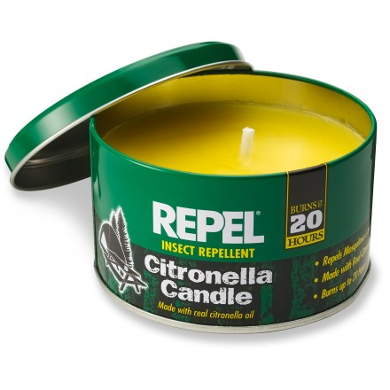 Camp and Hike When burned, this candle releases citronella oils into the air at a constant rate to keep mosquitoes and other flying insects away for hours - $6.75