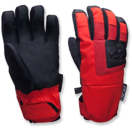 Ski These Ride Stellar gloves provide out-of-this-world weather protection for your digits. Waterproof, breathable inserts keep your hands dry and shielded from the elements. Goatskin leather palms provide excellent grip that holds up to heavy wear. Fleece linings with warm polyester insulation keep your hands cozy. Precurved fingers with flex panels at knuckles offer a natural fit from day one. Elastic cuffs with rip-and-stick tabs seal out snow. Ride Stellar gloves features a soft nose wipe on thumbs to catch drips. Closeout. - $30.83