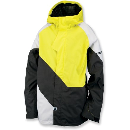 Snowboard The waterproof, breathable Ride Georgetown jacket boasts plenty of thoughtful details to delight you on the mountain. Windproof polyester shell fabric features a waterproof, breathable laminate and fully taped seams to fend off snow. Nylon tricot mesh lining slides easily over layers. Mesh-lined vents allow you to quickly dump heat. Ergonomic hood with hidden side adjustments cinches around your face for a tight seal from the elements. 1-hand-adjustable hem drawcord and rip-and-stick cuffs seal out snow; cuffs feature cozy inner hand gaiters. Powder skirt keeps out cold air and spindrift. Ride Georgetown jacket features front, microfleece-lined pockets. Interior media player pocket features headphone port; sleeve pocket stashes cash. Lift ticket loop. Closeout. - $95.73