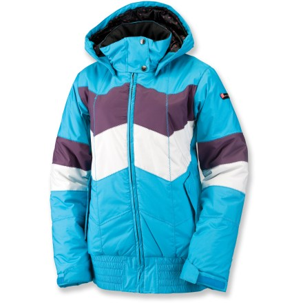 Snowboard Zigzag stitching and retro colors make the women's Ride Greenwood insulated jacket a stylish throwback to the good old days in the mountains. Windproof polyester shell fabric features waterproof, breathable coating to keep the elements out. Taffeta lining features decorative mini rosebud pattern and ample polyester insulation for cozy warmth. Removable hood shields you from wayward snowflakes. Oversize elastic hem and rip-and-stick cuffs keep cold air out. Designed to fit like a street jacket, the slim, tailored cut of the Ride Greenwood jacket leaves minimal room for layering. Closeout. - $94.73