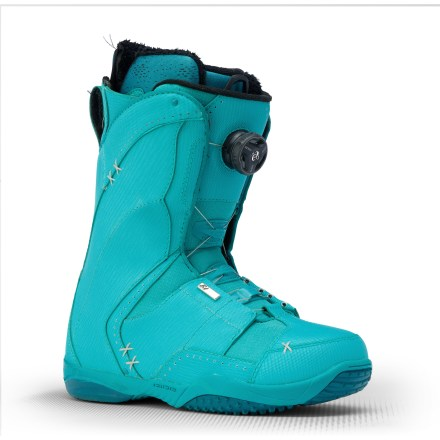 Snowboard Ride Sash Boa snowboard boots are for women who push themselves on the hill but also enjoy the finer things in life. Intuition(TM) Support Foam liners with enhanced high-density foam are body-heat activated over several days or immediately custom-formable on in-store pipe heaters. Liners securely wrap feet and include internal and external heel-locking J-bars; 3D-formed, dual-density EVA footbeds provide anatomic support. Lock Down speed laces tighten liners quickly and easily for a supportive, nonslip fit. Boa(R) Coiler lacing system, with ankle and cable guides along entire edge of eyestays, distributes closure force evenly for a dialed-in fit that won't loosen up. The Coiler scoops up loose cable when entering as well as exiting the boot; put your foot in, pull back on the tongue, twist the reel a few times and you're off. Ride Sash Boa boots are built with a women-specific last to fit typical female arch height, forefoot width, and calf, heel and ankle anatomy. Power insoles cushion every step and provide shock absorption when landing drops. Women-specific Jade soles are built with durable rubber and an internal EVA midsole. - $229.95