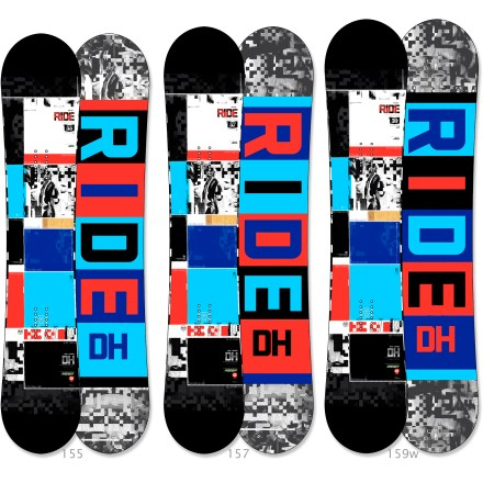 "Snowboard Go big or go home! The Ride DH snowboard features a classic twin shape, serious flex and a high-tech design to ready you for the park. Twin shape places you in a centered stance for a balanced ride whether riding regular or switch. Traditional camber profile offers tried-and-true response and precision in the park. Pop Rods(R) wood core features carbon rods in the tip and tail, creating potent pop without adding stiffness; ideal for all freestyle maneuvers. Carbon Array 3(TM) stringers in the binding zone channel power to the board for maximum control, regardless of your stance location. Skate-inspired Slimewalls(R) sidewalls absorb impact and smooth the interaction between the board and the wood, metal and snowy surfaces you slide on. Biaxial glass on top and triaxial glass on the base combine to provide a complete web of protection around core. Edges contain nearly 50% more steel than standard edges, resulting in unmatched resistance to edge cracking; can be ""detuned"" to enlarge board's turning radii. Ride DH snowboard features a Fusion 4000 sintered base that is durable, hard and, best of all, fast. . - $469.95"