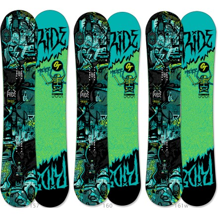 "Snowboard The all-mountain Ride Machete GT snowboard rips into groomers and ice for a solid carve, and is equally at home slaying pow-covered steeps. This board will change the way you ride; it's that amazing! Hybrid LowRize rocker features a micro camber section between the feet and rocker at the nose and tail, making the board equally at home in the park and on the steeps. Twin shape places you in a centered stance for a balanced ride whether riding regular or switch. Carbon Array 5(TM) stringers in the binding zone channel power to the board for maximum control. Biaxial glass on top and triaxial glass on the base combine to provide a complete web of protection around core. New Popwalls(R) sidewalls absorb impact and smooth the interaction between the board and riding surface; plus, as a bonus, they glow in the dark. Edges contain nearly 50% more steel than standard edges, resulting in unmatched resistance to edge cracking; can be ""detuned"" to enlarge board's turning radii. Ride Machete GT snowboard features a Fusion 4000 sintered base that is durable, hard and, best of all, fast. . - $549.95"