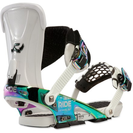 Snowboard The Ride El Hefe snowboard bindings are fully customizable-they include 3 Wedgie(TM) footbeds so you can adapt the bindings for changing terrain, whether headed to the park or the steeps. Lightweight Infinity chassis are built with the ambitious rider in mind, offering superior stability and finely tunable adjustments; heel cups are adjustable. Eclipse RS highbacks are made with an ultralight proprietary alloy for highly responsive performance when transitioning from edge to edge. ThinFlex ankle straps are perfectly contoured to your boot shape, and feature a pad-less, neoprene design to give you support without all the bulk. Injected urethane material provides extra damping and shock absorption during high-impact riding, so you can stay out longer in the park. Convertible ThinGrip toe straps can be worn across the top or over the front of boots to hold you in tight; you can change positions on the fly. AstroGlyde LT ratchets offer super-smooth cranking power and a buttery release. 3 interchangeable Wedgie footbeds let you choose your level of added pop by aligning ankles and knees to add board leverage without changing stance width. Included Wedgie footbeds 2.5, 4.0 and 5.0 supply varying angles in support and pop; extra footbeds stow away in case. Ride El Hefe bindings come with a premium soft case for protective storage and toting when not in use. These bindings are compatible with Burton The Channel snowboards, disc conversion kit is sold separately. - $349.95