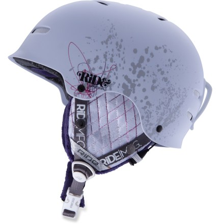 Ski The Ride Pearl snow helmet is the ultimate choice for hard-charging female riders that want lightweight performance without sacrificing style and comfort. Durable hardshell construction fuses expanded polystyrene (EPS) foam and ABS plastic, creating superior protection with minimal weight. ZoneFlex liner has independent flexible zones that conform to the unique shape of your head for a high comfort fit. Stitched and sealed air-mesh lining wicks moisture; passive venting allows built-up heat to quickly escape. Versatile, detachable ear pads; includes a detachable audio cord with volume control wheel. Plush faux-fur detailing adds warmth, comfort and style. Tool-free removable goggles clip. Adjustable quick-release chin strap is secure yet easy to unbuckle, even with gloves or mitts. - $99.95