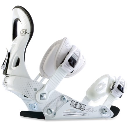 Snowboard Ride LXh snowboard bindings provide all the versatility you need to take your game to the next level. Foundation medium-flexing chassis are contoured for precision; heel-cup design allows micro-adjustments in seconds. Comfortable footbeds with EVA shock pads damp vibrations and absorb shock from landings. Women-specific, ergonomic DaLux highbacks features shorter highbacks than men's and extra flare at top. 3D padded ankle straps feature a supportive internal strap for response; tool-free centering adjustments lock down tight. Convertible ThinGrip toe straps with lightweight rubber webbing can be worn across the top or over the front of boots to hold you in tight; you can change positions on the fly. Women's LXh snowboard bindings feature lightweight, super-tough TriggerLite ratchets for high cranking power and a smooth release. Closeout. - $56.73