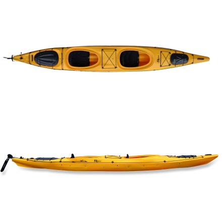 Kayak and Canoe Fast yet easy to handle, the Riot Polarity 16.5 Tandem kayak is a great choice for 2-person excursions. Rock-solid stability makes it perfect for long paddles, photography and family paddling. Cross-Max rotomolded polyethylene construction offers performance, rugged durability and affordability. Advanced Contour Fit outfitting and integrated thighbraces for cockpit comfort; also includes adjustable, quick-lock footbraces. Pilot rudder system aids in straight tracking when the water gets rough. Bulkhead-sealed front and rear compartments aid in flotation; Thermolite hatch covers give way to storage compartments. Riot Polarity 16.5 tandem also features reflective lifeline. Foredeck and center shockcords offer storage on the deck. Special buy. - $891.83
