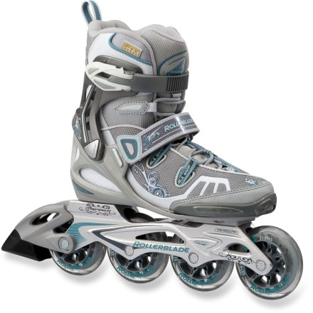 Entertainment The Rollerblade Spark 84 inline skates for women are a great choice for energizing workouts and fun outings with friends. Comfortable liners are designed for women's feet; liners allow easy entry. Asymmetric lacing system makes the uppers conform to the shape of your feet for a close fit that provides support when you're skating. 84mm wheels with SG7 bearings provide a stable ride on paved surfaces. Cuff buckles and straps over the insteps secure your feet in the skates. Aluminum frames offer great lateral support. - $88.83