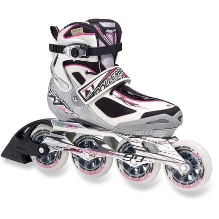 Skateboard Perfect for energizing workouts, the Rollerblade Tempest 90 women's inline skates are light and manueverable, with a slim construction that won't slow you down. Built for performance, the Tempest 90 skates feature 90mm wheels for a smooth, fast ride. Precision 5 Star fit liner eases entry with smooth heel slide; memory foam conforms to your feet. Fiber tech shell provides excellent control so you remain confident at high speeds. Ratcheting cuffs and powerstraps lock your foot into optimum skating position. Rollerblade Tempest 90 inline skates feature asymmetrical lacing for a snug fit. Extruded aluminum frames respond to your stride as an extension of your feet, maximizing control. Wheels with SG9 bearings augment speed and keep you rolling smoothly. Closeout. - $139.73