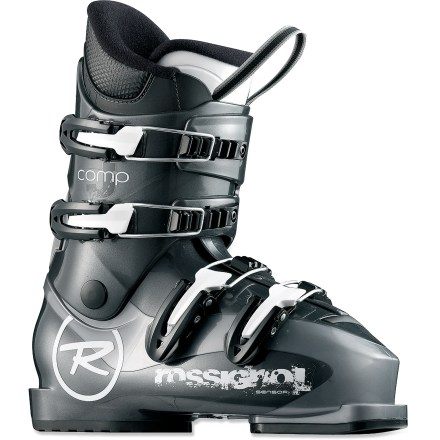 Ski Rossignol Comp J4 junior ski boots are a great choice for young skiers developing their skills. They provide a comfortable fit and performance features. - $55.93