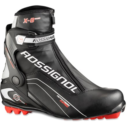 Ski The Rossignol X8 Skate boots offer comfort and control for invigorating days on the groomed trails whether you're a beginner or advanced skate skier. - $74.93
