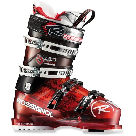 Ski Perfect for progressing skiers, the Rossignol Synergy Sensor2 110 ski boots use specialized liners to create a great fit and high comfort. Shell of the Rossignol Experience Sensor 110 is designed to enhance balance through direct contact with your big toe, little toe and heel. Stiff inserts under big toe, little toe and heel work with the shell to transfer energy to skis. Upright, natural stance makes it easy to stay balanced on today's shaped and rockered skis, reducing fatigue and increasing efficiency of skiing technique. Notches in the plastic along the instep create a hinge that makes it easy to get your foot in the boot. Rossignol Synergy 110 liners address the common fit issues of cramped toes, pressure on the insteps and forefeet and shin bang. 1-piece toe box and tongue eliminates seams and overlaps in the tongue attachment area, reducing pressure points at top of the toes. Foam padding in the liners resists packing out; smooth contours and an anatomic fit eliminates pressure points in forefeet. Specially designed insteps provide excellent midfoot fit, resulting in heightened responsiveness, increased circulation and greater warmth. Self-shaping tongue reduces shin bang. Custom-moldable liners can be heated in a specialty ski shop to achieve a personalized fit. 4 aluminum buckles feature a diagonal pull design that sets the foot securely into the heel pocket and enhances shell wrap. Buckles are microadjustable for an accurate fit; top 2 buckle catches provide 22mm of adjustability. Flex index of 110 provides the power transfer preferred by assertive intermediate skiers. 102mm footbeds offer a forgiving fit but still allow high performance. - $449.95
