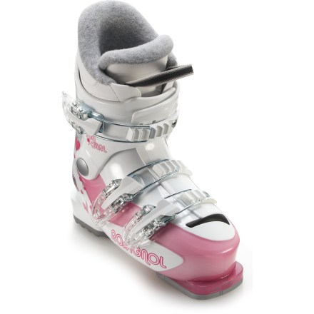 Ski Rossignol Fun Girl J3 junior girls' ski boots provide a comfortable fit and basic performance features for young skiers developing their skills. - $51.83
