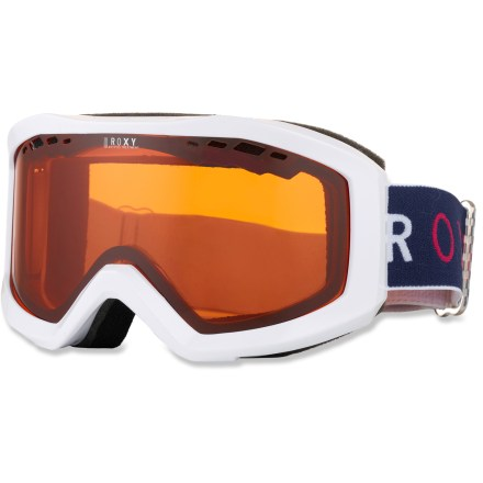 Snowboard These Roxy Sunset Basic snow goggles supply clear vision and protection for your eyes when it's time to shred some powder. Cylindrical, distortion-free double lens features an anti-scratch and antifog treatment to help ensure clear optics; lens perforations increase ventilation. Tough polyurethane frame is backed with fleece-lined foam for comfort. Helmet compatible; adjustable strap. Included abrasion-free bag can be used to clean the lens and helps protect your goggles when storing and transporting. Roxy Sunset Basic snow goggles have an orange-tinted, chrome-mirrored lens that offers 100% UV protection and performs best in cloudy or snowy conditions. - $29.83