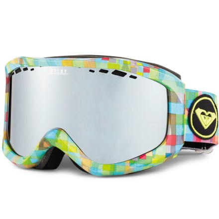 Snowboard These stylish Roxy Sunset Art snow goggles feature colorful graphics on frames and straps to add a bit of flourish to your days on the snow. Cylindrical, distortion-free double lens features an anti-scratch and antifog treatment to help ensure clear optics; lens perforations increase ventilation. Tough polyurethane frame is backed with fleece-lined foam for comfort. Helmet compatible; adjustable strap. Artistic flourishes on frame and strap up the style. Included abrasion-free bag can be used to clean the lens and helps protect your goggles when storing and transporting. Roxy Sunset Art snow goggles have an orange-tinted, chrome-mirrored lens that offers 100% UV protection and performs best in cloudy or snowy conditions. - $41.83
