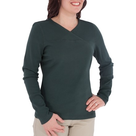 Entertainment Kick back and relax with this comfortable tee from Royal Robbins. Cotton fabric is naturally soft, breathable and comfortable. Crossover V-neck creates distinctive style. Embroidery at hem adds appeal. - $17.83