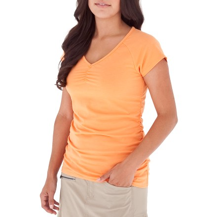 Entertainment Simple yet technical, the Royal Robbins Essential Ruched shirt will be a favorite this season. Breathable cotton/polyester fabric blend wicks moisture away from skin; hint of spandex aids in shape retention. Dri-X-Treme(TM) treatment helps fabric dry quickly. Fabric provides UPF 50+ sun protection, shielding skin from harmful ultraviolet rays. Ruched detail at the sides adds feminine style. - $32.93