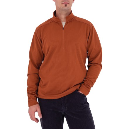 Camp and Hike The Royal Robbins Performance Waffle quarter-zip top looks great no matter the occasion. From hiking to hanging out, you'll love this shirt. Wrinkle-resistant polyester fabric travels well and wicks moisture to keep you cool and dry; fabric dries quickly when wet. With a UPF 50+ rating, fabric provides excellent protection against harmful ultraviolet rays. Shoulder seams are rotated forward to minimize abrasion while wearing a backpack. The Royal Robbins Performance Waffle top has side-seam gussets that allow good range of motion. Closeout. - $28.83