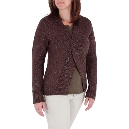Entertainment The Royal Robbins Elena Button cardigan sweater is a nice addition to your spring and fall wardrobe. Elena yarn has a wonderfully soft hand with great textured-wool appeal; plus, it offers great shape retention and regulates body temperature. Jersey-knit stitched body gives way to an embossed rib-knit on the center front and sleeve hems. Fully-fashioned armholes and 2x2 rib-knit at bottom hem. Snap and button closure. Closeout. - $24.73