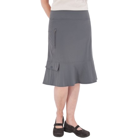 Entertainment The Discovery skirt from Royal Robbins is perfect for the world traveler. Abrasion-resistant, moisture-wicking nylon fabric has a touch of spandex for stretch and wrinkle resistance. Back zipper allows easy entry; Dri-Xtreme(TM) mesh lining at inner waistband quickly wicks moisture and resists bacterial development. Features left hip pocket with snap closure and right hip security pocket with vertical zipper; also features right cargo pocket. Fabric provides UPF 20 sun protection, shielding skin from harmful ultraviolet rays. Closeout. - $21.83
