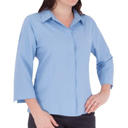 Entertainment The Royal Robbins Expedition 3/4-length sleeve shirt is a dependable, cool and stylish shirt for travel and warm weather. Lightweight, wrinkle-resistant Expedition fabric channels moisture away from the body to help keep you dry; grid construction adds durability and abrasion resistance. Dri-X-Treme(TM) treatment helps fabric dry quickly. Fabric provides UPF 50+ sun protection, shielding skin from harmful ultraviolet rays. Mesh-lined yoke quickly wicks away moisture and adds breathability. Hidden snap-front placket. Vented cuffs thwart moisture buildup. Side vents at hem. Zip-secure side pocket. Contoured body for feminine shaping. Closeout. - $21.73