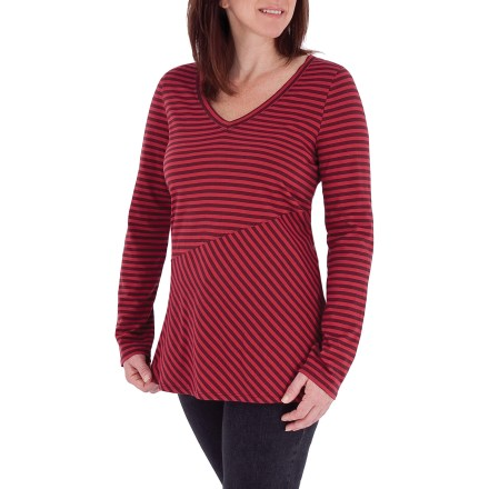 Fitness The Royal Robbins Lucy Slanted-Stripe V-neck shirt offers a distinct style that's sure to please. Made from certified 100% organic cotton for breathable comfort and easy care. Asymmetric stripe pattern adds style. Tunic fit. Closeout. - $18.73