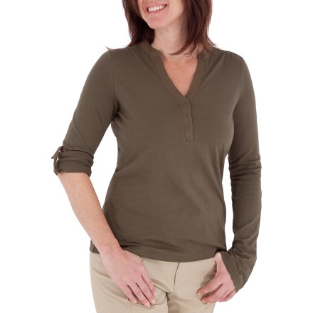 Fitness The Royal Robbins Lucy Henley shirt offers simple style that's sure to please. Made from certified 100% organic cotton for breathable comfort and easy care. Organic cotton is grown without the use of toxic pesticides. Sleeves can be rolled up and secured with tabs. The Lucy Henley shirt has a contemporary fit. Zigzag stitch detailing and gathered fabric at shoulders add style. Closeout. - $18.73