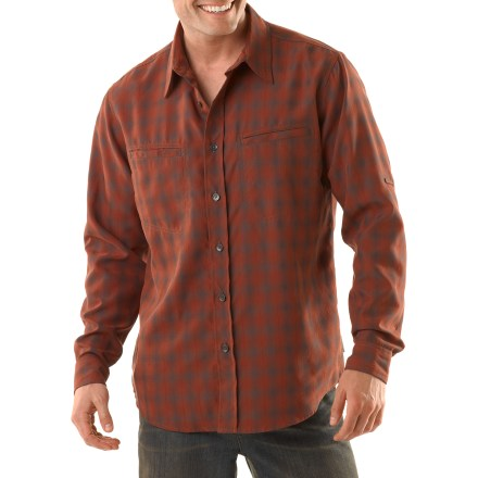 Entertainment For a casual day in town or a trip out of the country, the Royal Robbins Sprocket shirt will keep you comfortable throughout the journey. Modal(R) rayon/polyester blend has a soft hand with an attractive drape; fabric dries quickly and resists wrinkles. With a UPF 35 rating, fabric provides very good protection against harmful ultraviolet rays. Sleeves roll up and secure with button-closure tabs for ventilation. 1 zippered chest pocket and 1 rip-and-stick chest pocket secure your sensitive items. The Royal Robbins Sprocket shirt has a traditional fit. - $43.93