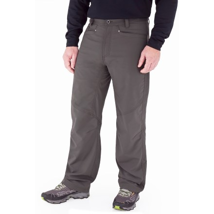 Camp and Hike Your adventurous lifestyle takes you on rugged trails leading to rocky summits and cobblestone streets of ancient cities. Be ready for your next adventure with the Royal Robbins Cool Trek pants. Polyester fabric is blended with spandex to give the pants a comfortable amount of stretch; brushed yarn on the inside is soft and warm next to skin. Teflon(R) finish provides excellent abrasion and water resistance; fabric dries quickly when wet. With a UPF 50+ rating, fabric provides excellent protection against harmful ultraviolet rays. Lots of pockets stow your important items-includes 2 hand pockets, a coin pocket, 2 rear pockets, a zippered rear pocket and a drop-in side pocket for a cell phone. Articulated knees allow comfortable range of motion with no tugging. The Royal Robbins Cool Trek pants have a regular fit. - $58.93
