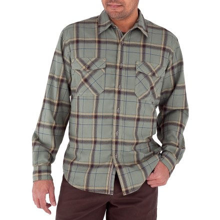 Entertainment Rich colors and a warm fabric make the Royal Robbins Leadville Flannel shirt a favorite for fall and winter wear. Brushed flannel fabric is constructed from hollow core polyester fibers that are designed to trap air for good insulation; fabric is wrinkle resistant and it dries fast. With a UPF 50+ rating, fabric provides excellent protection against harmful ultraviolet rays. 2 chest pockets with button closures hold your small essentials. Royal Robbins Leadville Flannel shirt has a droptail hem that stays tucked in. - $48.93