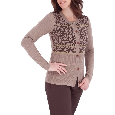 Entertainment The Royal Robbins Cottonwood Cardigan sweater features a cute cottonwood print that brings style to your mild-weather wardrobe. Cotton fabric is soft and breathable, and is the right weight for warmth when the temperature drops. Button-front secures cardigan. Contrast seams for style. Closeout. - $9.73
