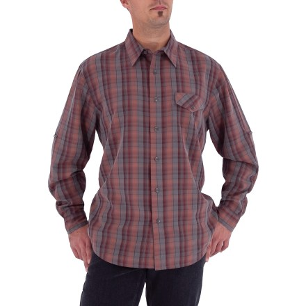 Entertainment The Royal Robbins Oso Plaid shirt looks great in the office, at the neighborhood barbeque and out at night. This shirt easily transitions from one spot to another. Rayon/polyester blend fabric is lightweight and breathable; sand-washed finish. Sleeves roll-up and secure at elbows. Chest pocket features a button closure. Closeout. - $28.73