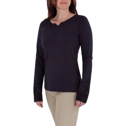Fitness The Royal Robbins Lucy Henna crew offers subtle style and a great fit. Made from certified 100% organic cotton for breathable comfort and easy care. Notched neckline for style. Closeout. - $16.73