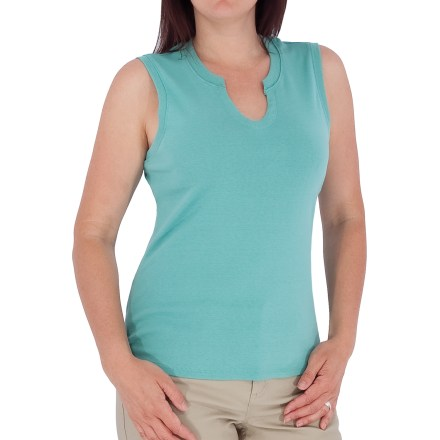 Fitness The Royal Robbins Kick Back tank top transitions from the market to the yoga studio with ease. Rib-spun, combed cotton knit provides more stretch than plain knits and ensures freedom of movement while providing great style. Prewashed to prevent shrinkage. V-notched neckline. Fabric provides UPF 50+ sun protection, shielding skin from harmful ultraviolet rays. Closeout. - $9.73