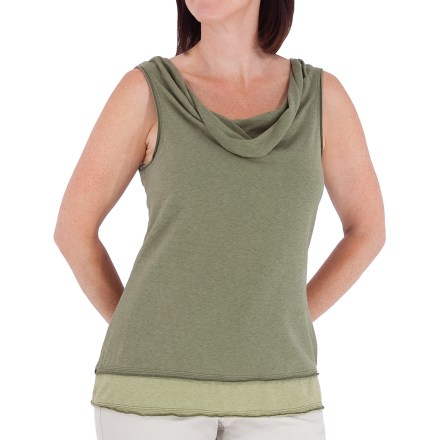 Entertainment The Royal Robbins Nuevo Summer tank top is built for warm-weather fun. Jersey fabric combines hemp with organic cotton to create a uniquely textured knit; hemp naturally resists UV rays and body odors. With a UPF 30+ rating, fabric provides good protection against harmful ultraviolet rays. Design follows body's contours for a feminine fit; cowl neckline and layered hem add style. Closeout. - $14.83