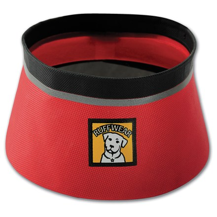 Camp and Hike The light and collapsible Ruffwear Bivy pet bowl sports high-tech construction and materials that eliminate the need for 2 heavy layers-while still remaining reliably watertight! Bowl collapses down small to fit in a corner of your dog pack or day pack. Waterproof, single-layer nylon features seam-free, welded construction. Stable shape and wide, slip-resistant bottom allow easy eating and drinking. Small size holds up to 27 fl. oz. (0.83 liter); Medium size holds up to 51 fl. oz. (1.5 liters)7. Ruffwear Bivy pet bowl cleans up easily. - $20.00