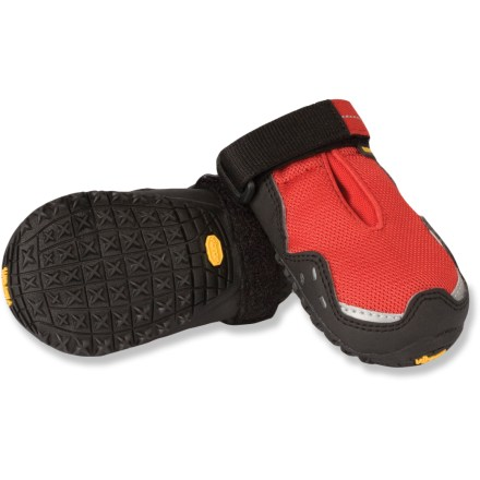Camp and Hike The Ruff Wear Bark'n Boots Grip Trex dog boots are standard bearers in paw wear for furry friends who join you hiking, running and exploring the great outdoors. - $55.93