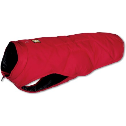 Camp and Hike The Ruffwear Quinzee insulated dog jacket wraps your pooch in lightweight warmth-perfect for breaks between activities in cold weather. - $79.95